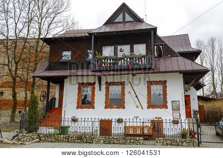 ZAKOPANE POLAND - MARCH 07 2016: Made of wood approx. 1905 the family home of Bronislaw Czech (1908-1944) 24 times Polish champion in ski competitions nowadays the Memorial Chamber