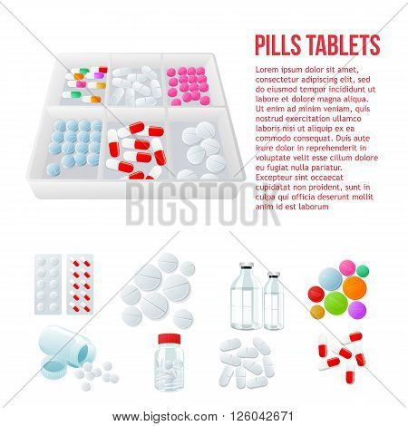 Packaging of medicines, various pills, white and color on a white background, vector illustration with set of drugs, colorful products. Bottles and boxes with colored vitamins. Things to human health