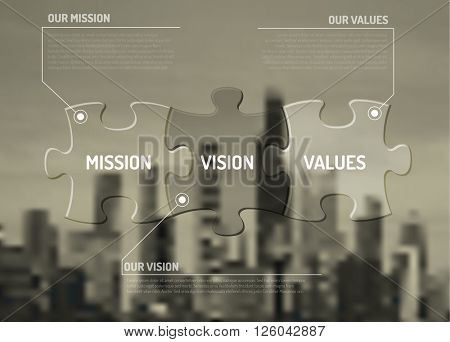 Vector Mission, vision and values diagram schema made from puzzle pieces on the city background