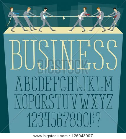 Vector flat business concept with alphabet and competition team