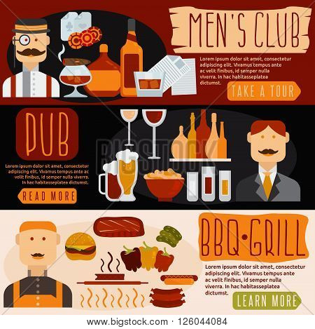 flat design banners with men's club bbq and pub theme