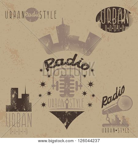 Vintage Grunge Labels Of Urban Radio With Microphone And Headphones
