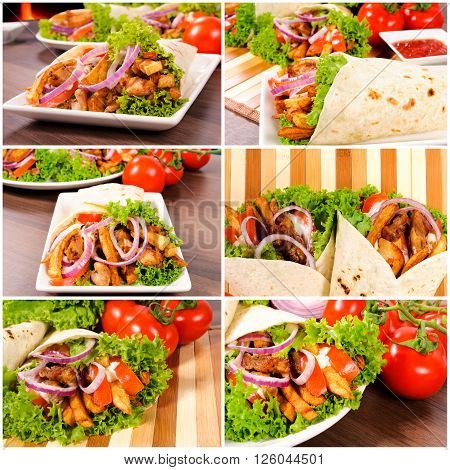 Image of gyros pita with fresh vegetables