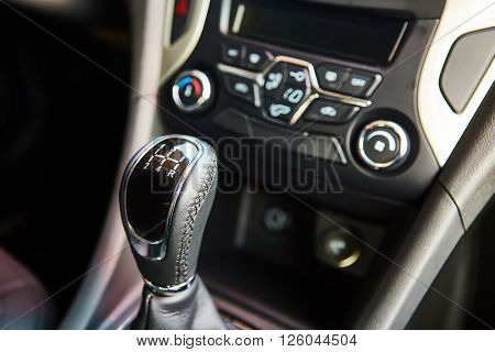 6 speed gear stick closeup. Manual gearbox in the car