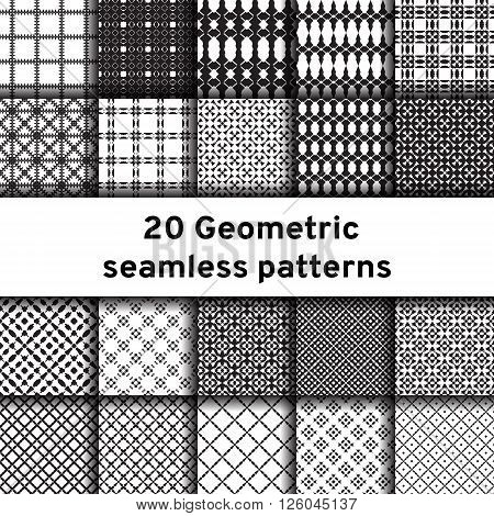 Set of 20 monochrome seamless patterns. Universal different vector patterns. Geometric ornaments. Collection black and white vector backgrounds.