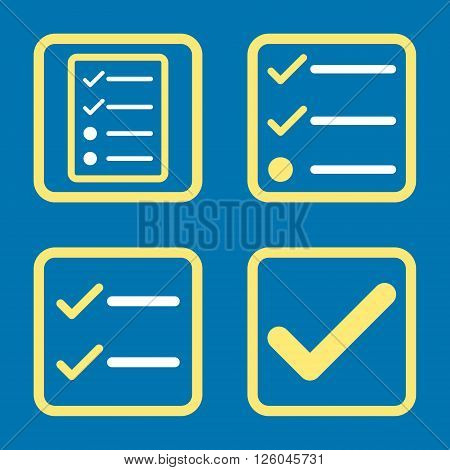 Valid vector bicolor icon. Image style is a flat icon symbol inside a square rounded frame, yellow and white colors, blue background.