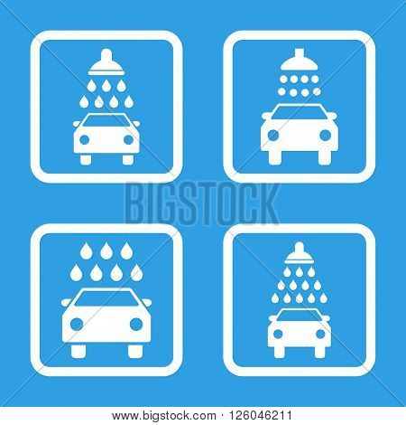 Carwash vector icon. Image style is a flat icon symbol inside a square rounded frame, white color, blue background.