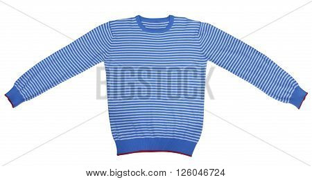 Blue and white striped long sleeve t-shirt isolated on white. Clipping path included.