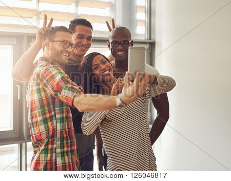 Young Workers Taking Self Portrait With Phone