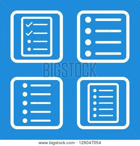 List Items vector icon. Image style is a flat icon symbol inside a square rounded frame, white color, blue background.