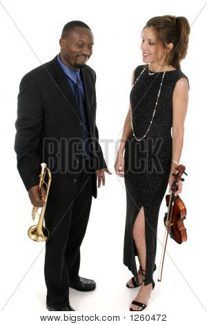 Two Musicians Playing Around Backstage Before Their Concert