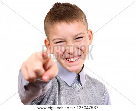 Kid pointing at You Isolated on the White Background