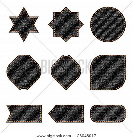 Black jeans labels and badges of different forms