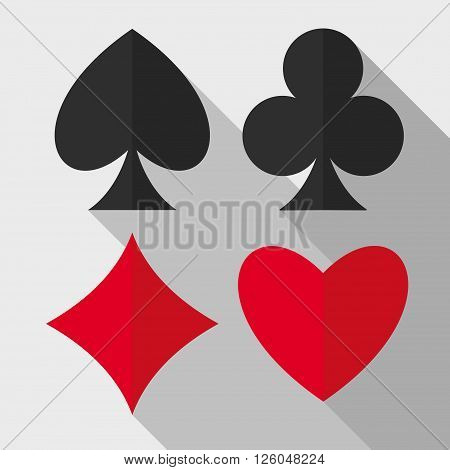 Playing cards suits flat icons. Heart diamond club spade vector flat icons. Vector flat icons of playing cards suits. EPS8 vector illustration.