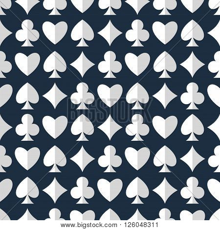 Playing cards suits seamless pattern. Heart diamond club spade vector seamless pattern. Vector background of playing cards suits. Seamless pattern with playing cards suits. EPS8 vector.