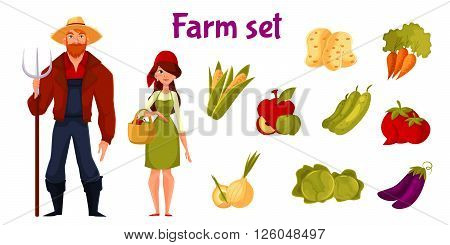 Farm business, set of vegetables and farmers man and woman, elements on a white background, vegetable icons, large farmhouse set for your infographic or advertising of healthy and organic food