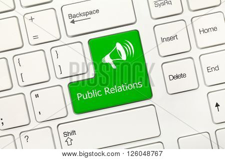 White Conceptual Keyboard - Public Relations (green Key With Megaphone Symbol)