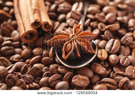 Star anise with cinnamon and roasted coffee beans closeup shot selective focus