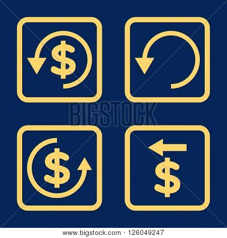 Chargeback vector icon. Image style is a flat icon symbol inside a square rounded frame, yellow color, blue background.