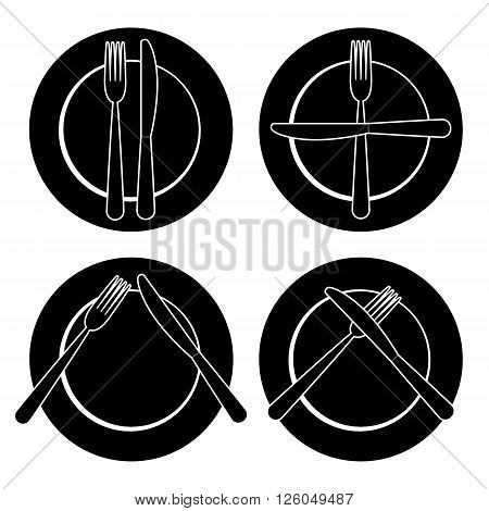 set of dishes, such as plates, fork and knife on a white background