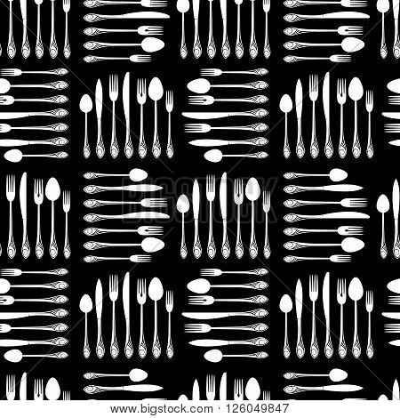 Crockery seamless pattern. Simple flat shapes of spoons, forks, and knives. Vector background. Print for kitchen textiles.