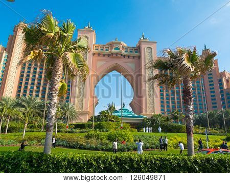 Dubai - February 32012: Atlantis the Palm luxury hotel resort is located on island in the United Arab Emirates.The resort consists of two towers linked by a bridge with a total of 1539 rooms.