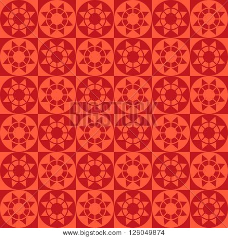 Abstract modern geometric seamless pattern with squares circles and stars of red shades