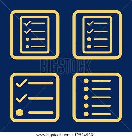 List Items vector icon. Image style is a flat icon symbol inside a square rounded frame, yellow color, blue background.