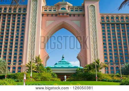 Dubai - February 3 2012: Atlantis the Palm luxury hotel resort is located on island in the United Arab Emirates.The resort consists of two towers linked by a bridge with a total of 1539 rooms.