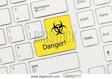 White Conceptual Keyboard - Danger (yellow Key With Biohazard Symbol)