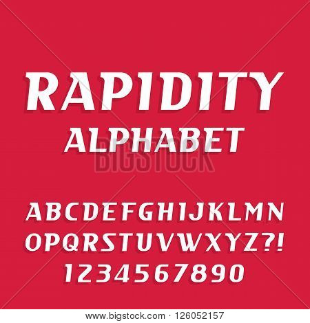 Rapidity alphabet vector font. Oblique letters and numbers. Stock vector typeface for your design.