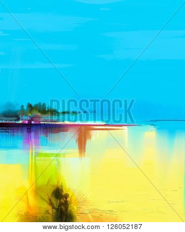 Abstract colorful oil painting landscape on canvas. Semi- abstract image of tree and yellow field with sunlight and blue sky. Spring season nature background