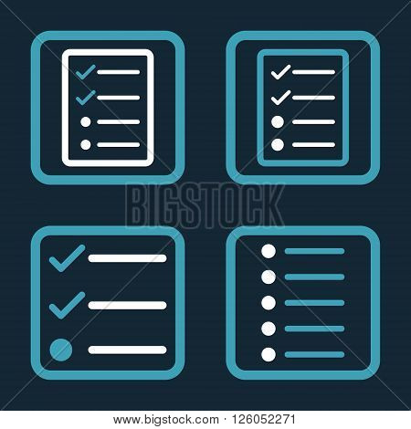 List Items vector bicolor icon. Image style is a flat icon symbol inside a square rounded frame, blue and white colors, dark blue background.