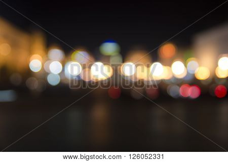 Blurred city lights background, colored lights texture