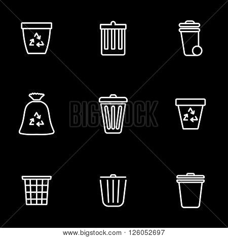 Vector line trash can icon set on black background