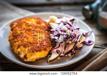Chicken Schnitzel With Red Cabbage,pears And Gorgonzola