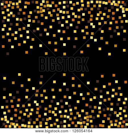 Gold glitter confetti on black background. Vector illustrati
