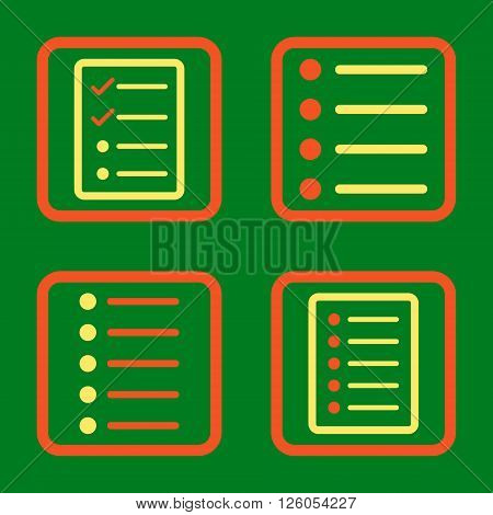 List Items vector bicolor icon. Image style is a flat icon symbol inside a square rounded frame, orange and yellow colors, green background.