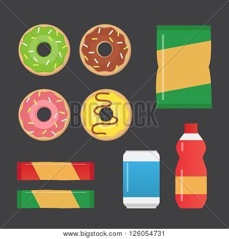 Fast food snacks and drinks flat vector icons. Vending machine products vector illustration
