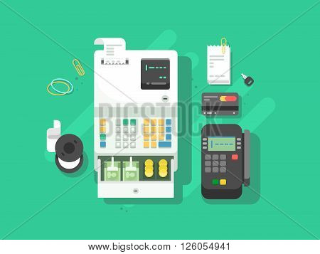 Cash machne and digital terminal for cards. Credit and cash, payment and transaction. Vector illustration
