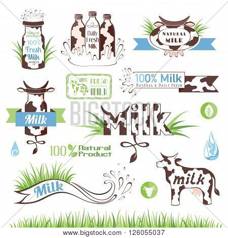 Milk and creamery labels emblems and design elements
