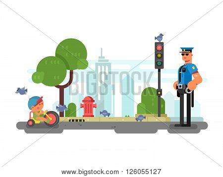 Police officer on the city street. Officer and security, urban policeman in uniform. Vector illustration
