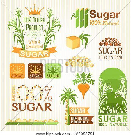 Sugar labels symbols emblems and icons for design