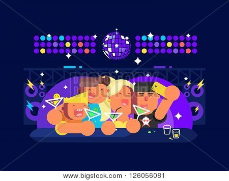 People in nightclub. Party nightlife, disco happy clubbing event, vector illustration