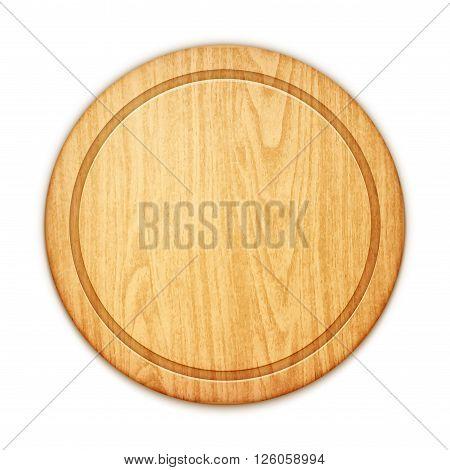 Empty Round Cutting Board On White Background