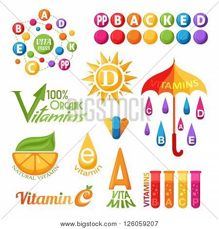 Vitamins symbols icons and labels for design
