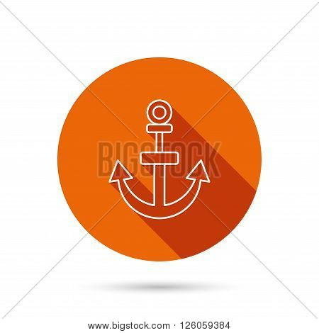 Anchor icon. Nautical drogue sign. Sea and sailing symbol. Round orange web button with shadow.