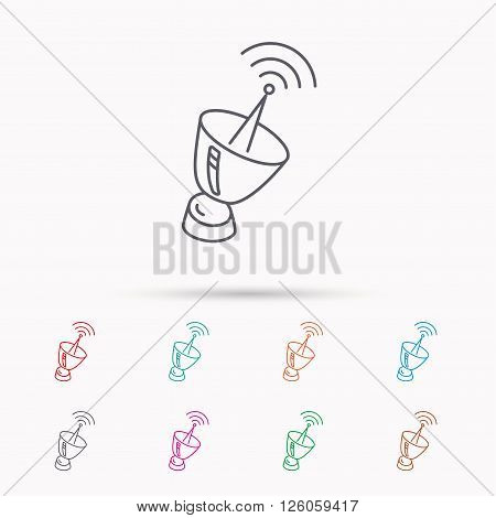 Antenna icon. Sputnik satellite sign. Radio signal symbol. Linear icons on white background.
