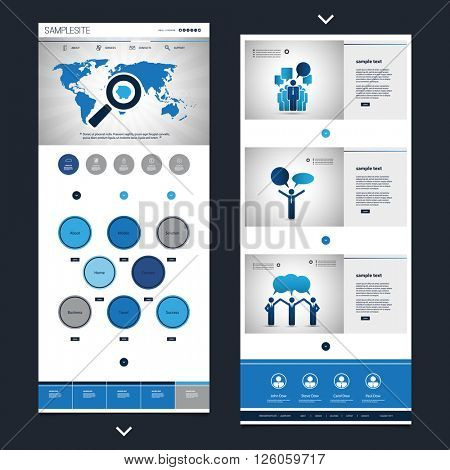 One Page Website Template with Business Theme Header Design