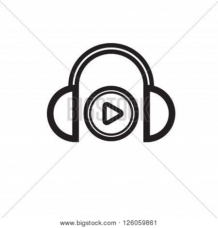 Black headphones silhouette isolated on white background. eps10